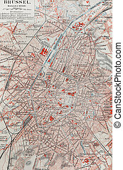 Map of Brussels - Old map of Brussels from the end of 19th...