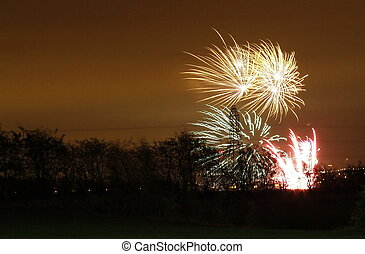 firework display - fantastic firework display of large...