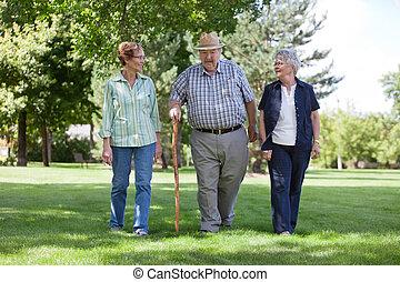 Senior Friends Walking in Park - Three senior friends...