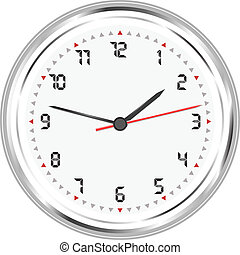 wall silver clock vector isolated