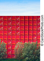 A stack of sea containers