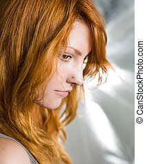 Want to be a model? - Portrait of young redhead model in...