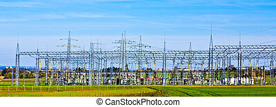 transformer station in landscape - electrical transformer...