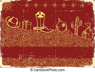 Cowboy christmas card with holiday elements and decoration on old paper texture