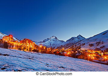 Ski resort in Alps - Ski resort in French Alps at night