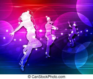 Disco or night club dancers - Colour illustration of a disco...
