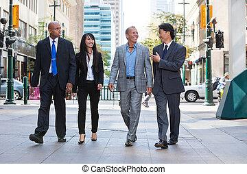 empresa / negocio, gente, ambulante, juntos, calle