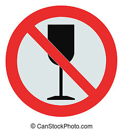 No alcohol sign, isolated drink prohibition zone crossed...