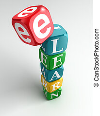 e learn sign 3d colorful buzzword