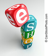 eshop sign 3d colorful buzzword tower on white background