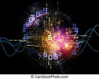Digital Technology Abstract - Interplay of digits, network...