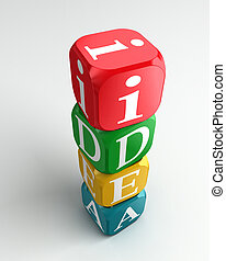 idea 3d colorful buzzword tower