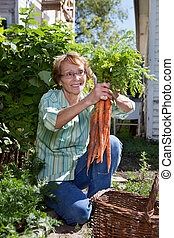 Senior woman holding carrots - Senior woman holding fresh...
