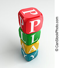 play 3d colorful buzzword tower