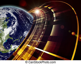 Earth Technologies - Montage of Earth globe Saturn-like...