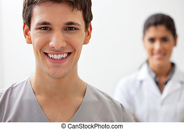 Happy male doctor
