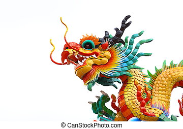 Head of Chinese dragon against white background.