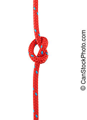 Knot in Red Rope - Knot Tied in Red Rope Isolated on White