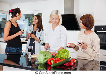 Happy female friends - Group of happy female friends in...