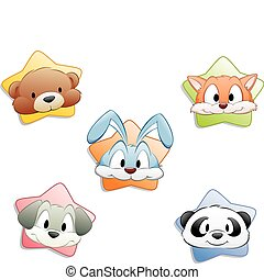 Cartoon Animal Faces - A set of cartoon animal faces...