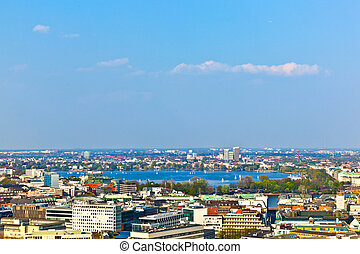 cityscape of Hamburg from the famous tower Michaelis with...
