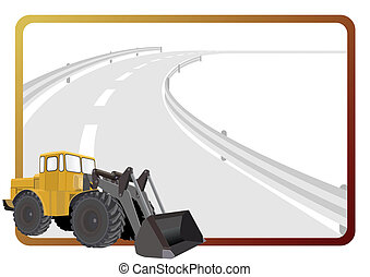 Wheeled tractor - Road construction machinery in the...
