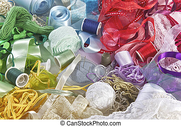 Sewing equipment in different colours