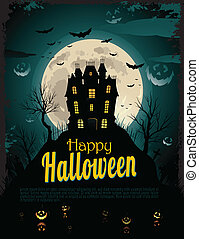 Haunted_House_Bleu(4).jpg - Halloween poster with place for...