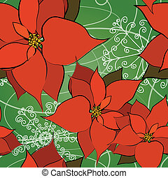 Seamless Poinsettia Background - This is a resizable...