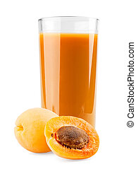 Apricot juice on white background
