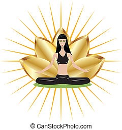 Yoga girl with gold lotus flower vector