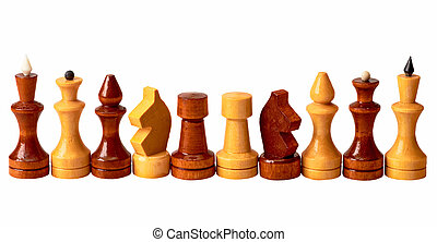 Chess Pieces - The chess pieces isolated on a white...