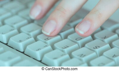 Type - Female hands typing on computer keyboard