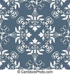 Seamless floral heraldry pattern in bluish colors