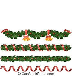 Christmas garlands - Christmas holly garland with bell and...