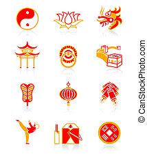 Chinês, cultura, icons|, suculento, série