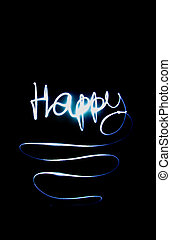 the word happy from the lights
