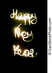 the word happy new year from the lights
