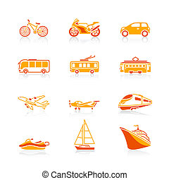Transportation icons | JUICY series - Modern and vintage...