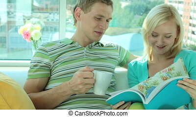 Couple at home - Happy couple spending leisure at home...