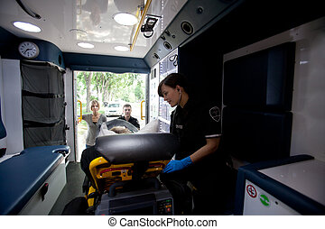 Ambulance Interior with Patient and Paramedic