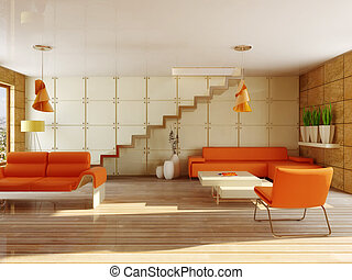 interior room with orange furniture