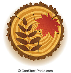 wooden cut and autumn leaves - vector wooden cut and autumn...