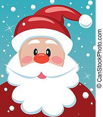 santa with big beard - vector xmas illustration of santa...