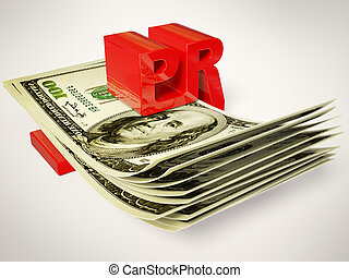 PR - public relation sign and money on white