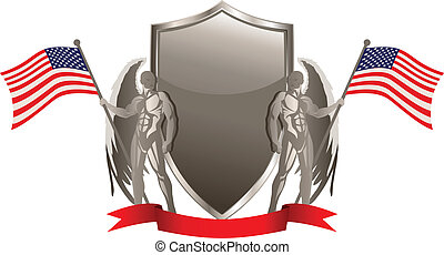 USA Emblem - Vector illustration of an emblem with American...