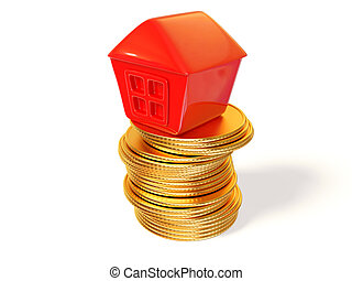 house - red house on gold coin isolated background