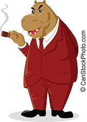 Big Boss - Cartoon illustration of a hippopotamus smoking a...