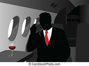 Executive Flight - Silhouette illustration of an executive...