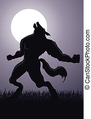Werewolf - Stock vector of a werewolf at a full moon